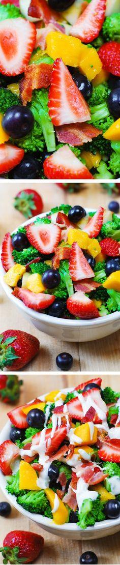 fruit salads, broccoli salad, homemad salad