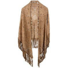 LAFRE Fringed leather poncho ($589) ❤ liked on Polyvore featuring outerwear, jackets, cardigans, tops, poncho, fringe poncho, brown poncho and leather poncho