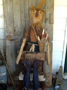 """Primitive Scarecrow Large Life size 62"""" Doll Sign Candy Corn 5ft tall #NaivePrimitive"""