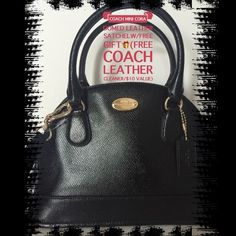 "❗1 HOUR SALE❗COACH MINI CORA DOMED LTHER SATCHEL 🆕 COACH MINI CORA DOMED SATCHEL IN PATENT CROSSGRAIN LEATHER🔲Inside zip pocket with two other pockets to hold your cell phone, etc.🔲Gold accents/zip closure🔲Fabric lining🔲Handles with 3 1/2"" drop🔲Long, detachable strap with 21 1/2"" drop for shoulder or crossbody wear⬛️Comes wrapped in a Coach gift box.😃. This purchase includes a 🆓FREE GIFT of Coach leather cleaner($10 value)!!😃🎉🎁❤️💚💗PRICE FIRM!! Coach Bags Satchels"