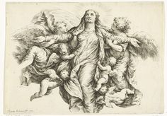 Jan de Bisschop | Maria Hemelvaart, Jan de Bisschop, 1668 - 1671 | Maria wordt door een groep engelen naar de hemel gevoerd.