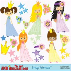 Pretty Princesses - cute little princess clipart for your creative projects.