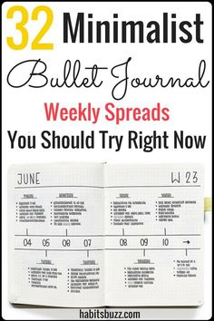 32 simple and minimalist bullet journal weekly spreads/layouts for new ideas! #bulletjournal #bulletjournalweeklylog #bujo #weeklyspread
