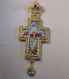 Pectoral Priest silver Cross gold plated with Enamel & Zirgon Stones Hand made
