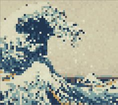a version of Hosukai's Great Wave in one-inch pixels. It would take 300 one-inch paint chips in sixteen colors to make.