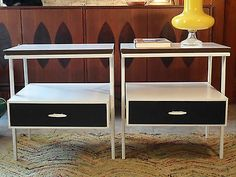 Vintage Mid Century Modern Paul Mccobb Style Wrought Iron End Tables Eames Retro