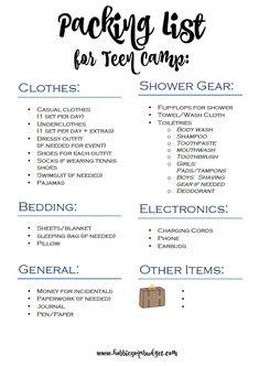 Packing list for Teen Summer Camp Packliste für Teen Summer Camp Summer Camp Outfits, Summer Packing Lists, Camping Packing, Camping List, Packing List For Travel, Travel Checklist, Tent Camping, Camping Essentials, Travel Tips