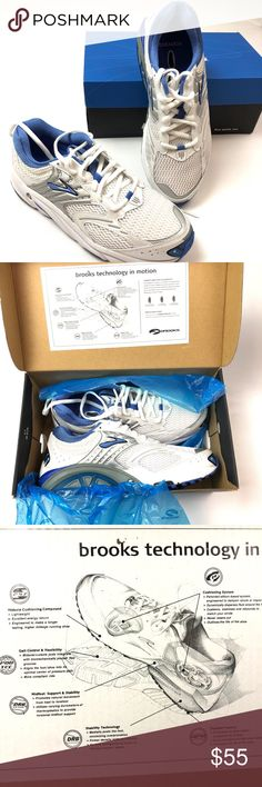 "NWT BROOKS ""ARIEL"" SNEAKERS SIZE 9.5 WOMENS BRAND NEW  BROOKS ""ARIEL"" SNEAKERS THAT ARE IN A SIZE 9.5 WOMENS  WHITE WITH BLUE AND SILVER  HAS GREAT DURABLE TRACTION MIDSOLE CUSHIONING COMPOUND   WONDERFUL RUNNING AND WALKING SNEAKER!   COMES WITH ORIGINAL BOX  SMOKE-FREE-HOME Brooks Shoes Athletic Shoes"