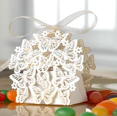 20 Luxe Butterfly Laser wedding favour / favor box & ribbon ties. $20.00, via Etsy.