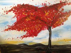 Tree in the Wind Autumn inspired tree with crimson by TheArtwerks, $49.99
