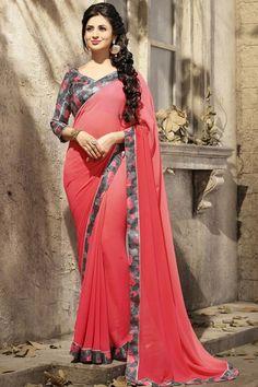#DivyankaTripathi #Red Plain #Floral Border Designer Saree