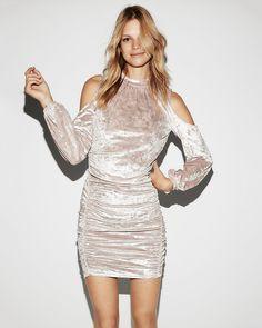 Crushed Velvet Cold Shoulder Dress New Years Eve dress. Shop it here-> http://rstyle.me/n/cvrur9b8ym7