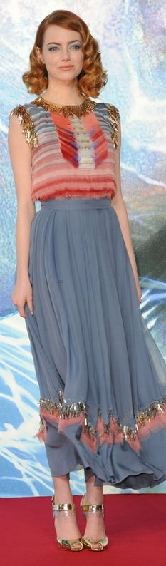 Who made Emmay Stone's blue dress and gold shoes that she wore in Berlin on April 15, 2014?