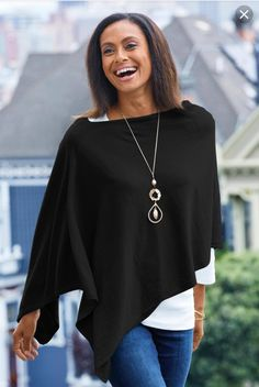 """Shop TravelSmith for our Cotton and Cashmere Poncho. Browse our online catalog for the best in clothing, gear and inspiration for journeys near and far. Fashion Over 50, Work Fashion, Fashion Looks, Fall Outfits, Casual Outfits, Fashion Outfits, Poncho Outfit, Black Poncho, Cashmere Poncho"