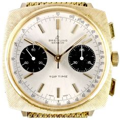 Manual winding cal. Valjoux 7730, gold plated 36.8 x 36.8mm. case, tachymeter scale on the dial.  The Breitling Top Time was conceived in the early 60s as a cheaper entry level range of Breitling chronographs; one of the highlights here is the stunning dials which make it a popular choice.