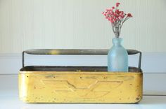 Vintage Chippy Metal Tote Metal Box Toolbox by PageScrappers, $38.00