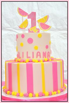 Paityn's Cake - top layer with lemon slices and number Bright pink and Yellow Girls Birthday Party Themes, Baby 1st Birthday, 4th Birthday Parties, Birthday Ideas, Birthday Cake, Pink Lemonade Cake, Yellow Birthday, Baby Shower Desserts, Baking Company