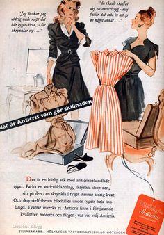 Reklam för anticrisbehandlade tyger från Mölnlycke, 1940-tal