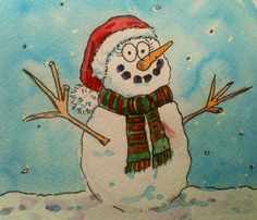 Watercolor happy snowman.