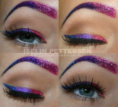 Eye Makeup Look: Glitter Heaven | Woah! I never thought of messing with my eyebrows too, even for halloween; but this actually looks cool.
