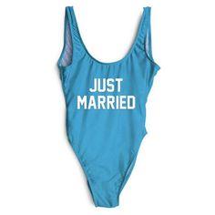 Just Married Swimsuit Bikini Women One Piece Swimwear