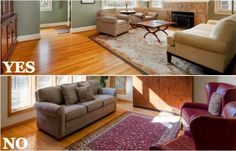 Helpful visual tip! In large rooms, rugs should fit the configuration of the room and furniture. If a 15 x 20 foot living room, for example, is arranged in one large conversation area, you should look for a rug to cover and frame that entire area, big enough so that at least the front third of the furniture sits on the rug.