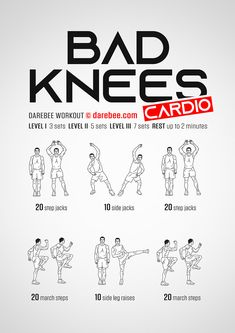 Bad Knees Cardio Workout - Perfect İdeas For Doing Exercise Power Workout, Cardio Workout At Home, Gym Workout Tips, Low Impact Workout, At Home Workouts, Easy Daily Workouts, Parkour Workout, Couch Workout, Beginner Cardio Workout