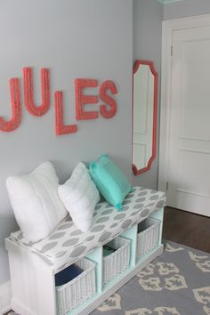 Benjamin Moore Light Touch paint color... in the cubbies