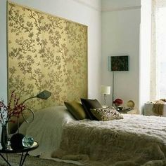 bedroom with framed wallpaper 'headboard' photographed by bill kingston Wallpaper Design For Bedroom, Wallpaper Headboard, Framed Wallpaper, Wallpaper Decor, Wallpaper Ideas, Wallpaper Panels, Wallpaper Designs, Metallic Wallpaper, Wallpaper Patterns