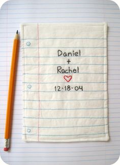 PERSONALIZED Couples Wedding Keepsake Hand Embroidered Notebook Paper Design, Eco Friendly Materials. $30.00, via Etsy.  Stitched by: Rachel Hunnicutt