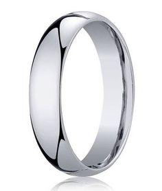 Designer Platinum Wedding Ring with Domed and Polished Profile   5mm - JB1173