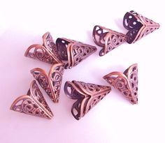 Antique Copper Plated Filigree Bead Cone Caps-18mm