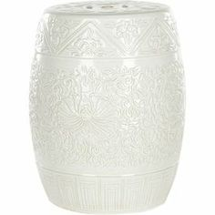 """Showcasing an embossed floral motif and a white finish, this ceramic garden stool is perfect for resting your latest read in the living room or displaying a blooming bouquet on the patio.           Product: Garden stoolConstruction Material: CeramicColor: White Features: Embossed floral motifSuitable for indoor or outdoor useWater and weather resistantHandmade Dimensions: 18.5"""" H x 13.7""""  Diameter"""