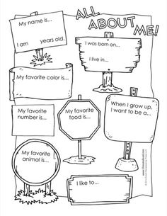 "An ""All About Me"" worksheet for elementary school classrooms."