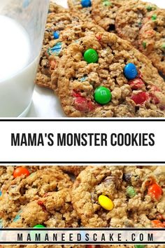 Monster Cookies -Gluten-Free Option - Mama Needs Cake Mama Needs Cake Cookie Recipes, Dessert Recipes, Easy Desserts, Dinner Recipes, Bowl Cake, Gluten Free Cookies, Almond Recipes, Savoury Cake, Holiday Baking