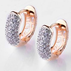 Crystal Earrings for Women Gold Platinum Plated Hoop Earrings CZ Stone #Unbranded #Trendy