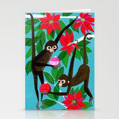 Spider Monkeys Holiday Card Stationery Cards