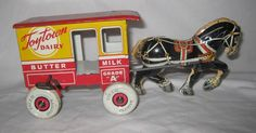 Toy Stamp 1930s Marx Toy Town Dairy Wind Up Horsedrawn Wagon Cart AU100 | eBay
