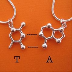 DNA RNA Base Pair Friendship BFF Necklaces in sterling silver