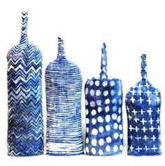 Brenda Holzke - Indigo Textile Bottles - handbuilt stoneware bottles with cobalt carbonate decoration