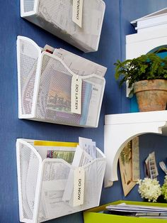 Install hanging magazine holders on the wall to organize mail and other documents in a quick and efficient manner. Wire files help keep things visible and fresh in your mind. Label the hanging files to make organization fast and simple.