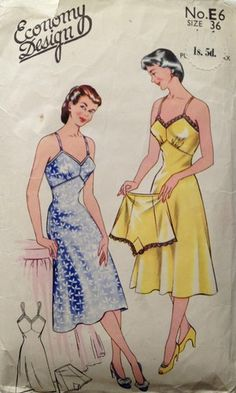 Vintage 1950s sewing pattern by Economy Design Slip and Knicker | eBay