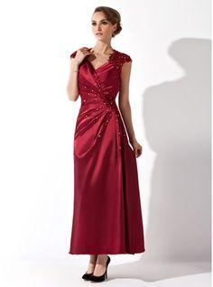 Corte A/Princesa Escote en V Hasta el tobillo Charmeuse Vestido de madrina con Volantes Encaje Bordado (008013961) - JJsHouse