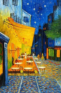 Cafe Terrace at Night by Vincent Van Gogh. Arles, France