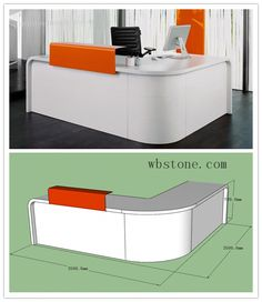 Home Office Furniture: Choosing The Right Computer Desk Reception Counter Design, Small Reception Desk, White Office Furniture, Office Furniture Design, Workspace Desk, Office Desks, Office Table Design, Small Home Offices, Cabinet Makers
