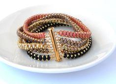 5 Strand Beaded Bracelet Boho Black Peach Rope Bracelet by LiBeadi
