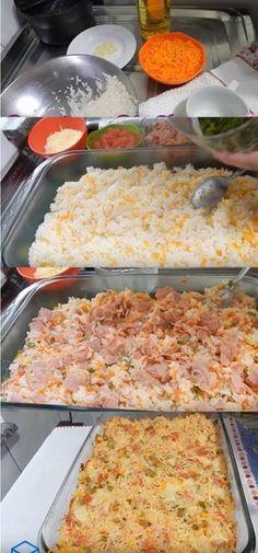 Arroz De Festa!!! #arroz #arrozdeforno #arrozdefesta #arrozfácil #receitasdearroz #comida Paella, Macaroni And Cheese, Food And Drink, Low Carb, Pizza, Ethnic Recipes, Money, Design, Rice Recipes