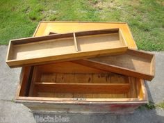 HUGE-Old-ANTIQUE-vintage-Wood-Carpenter-WOODEN-TOOL-CHEST-Box-Cabinet-Trunk-DRAW