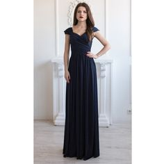 Prom Navy Blue Maxi dress/sundress Draped Floor Length Dress... ($50) ❤ liked on Polyvore featuring dresses, gowns, dark olive and women's clothing