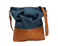 blue messenger bag by aikothreads